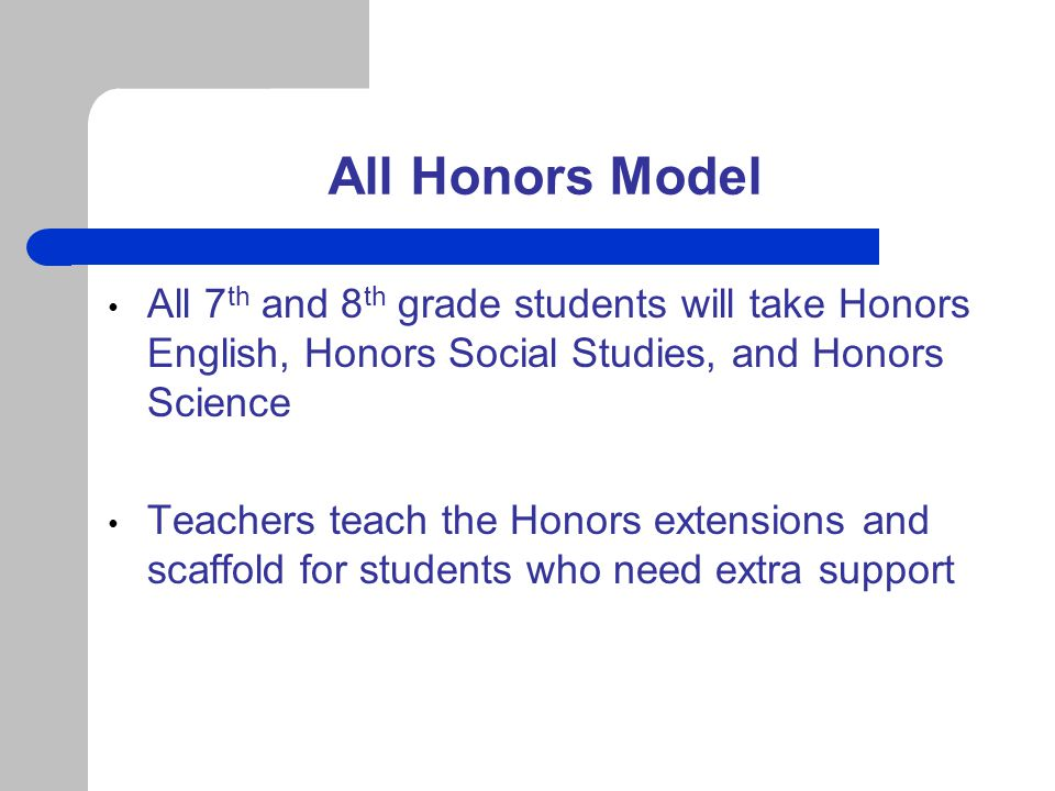All Honors Model (continued) All of our classes are student – centered and teachers differentiate to address the needs of all students Our staff have participated in several professional development sessions on differentiation, facilitated by the FCPS Advanced Academics office, to enhance instruction and provide best practices in teaching and learning