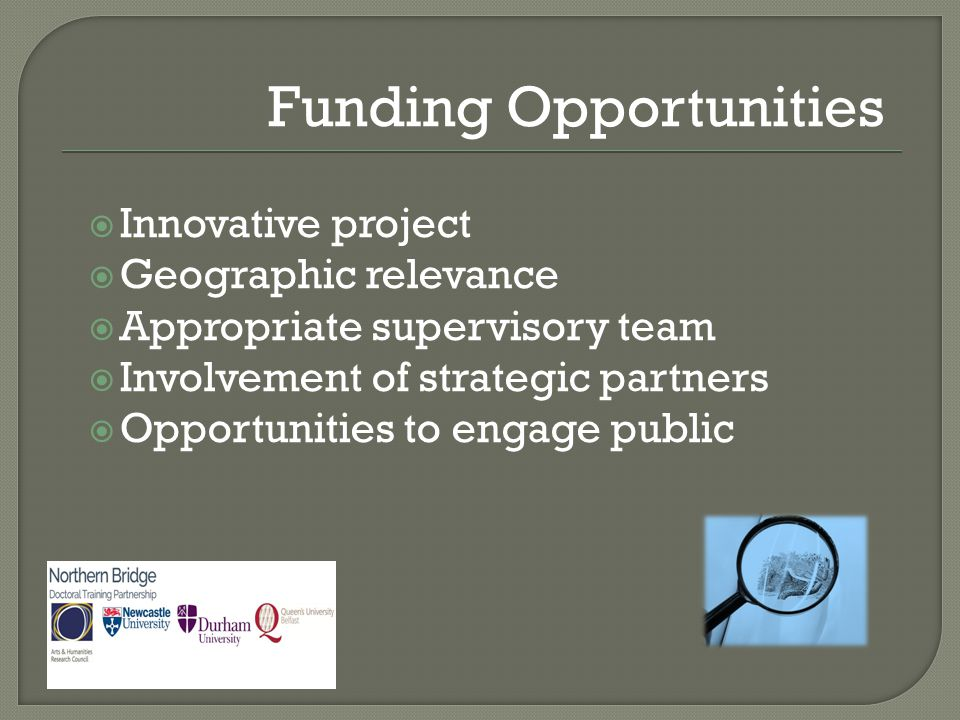  Innovative project  Geographic relevance  Appropriate supervisory team  Involvement of strategic partners  Opportunities to engage public Fundin