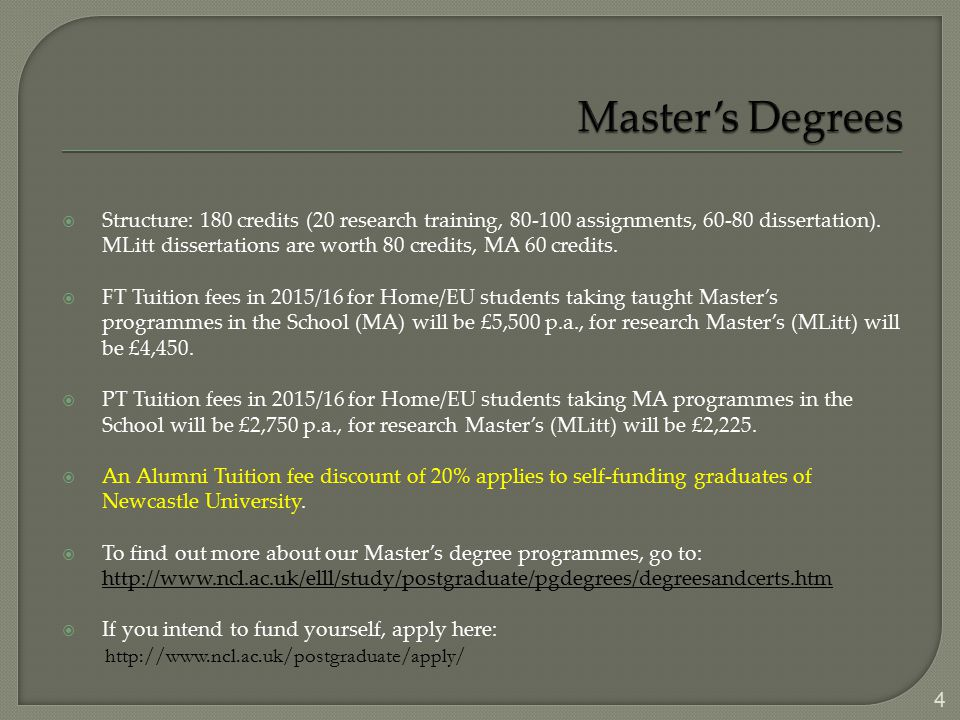  Structure: 180 credits (20 research training, 80-100 assignments, 60-80 dissertation). MLitt dissertations are worth 80 credits, MA 60 credits.  FT