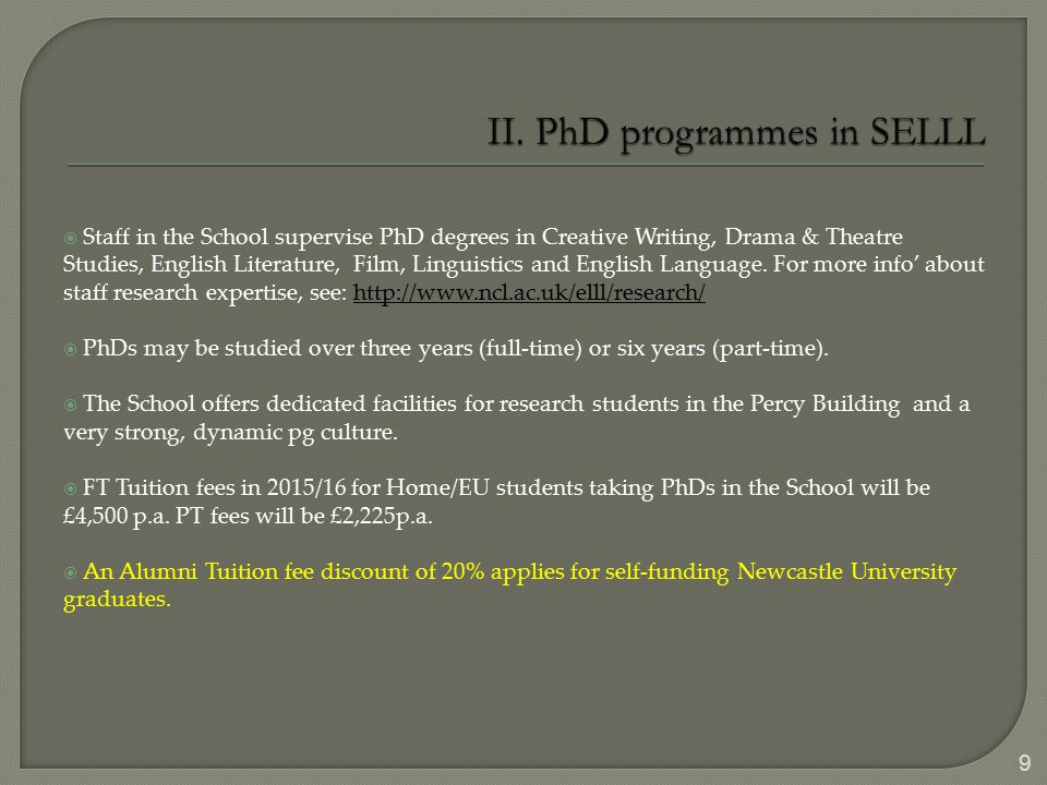  Staff in the School supervise PhD degrees in Creative Writing, Drama & Theatre Studies, English Literature, Film, Linguistics and English Language.