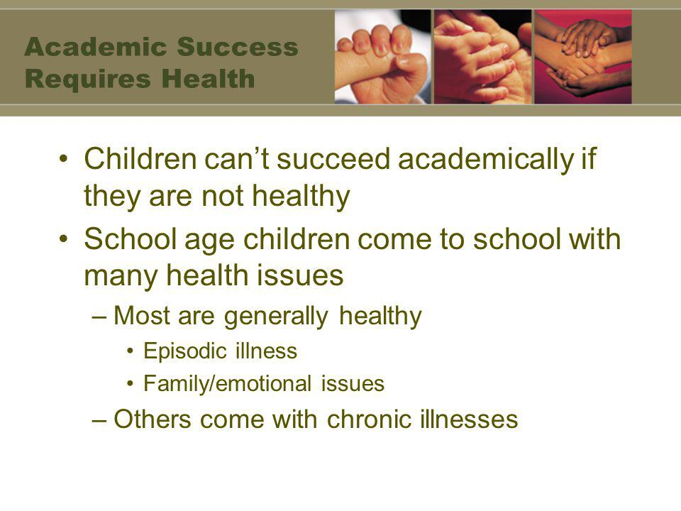 Academic Success Requires Health Children can't succeed academically if they are not healthy School age children come to school with many health issues –Most are generally healthy Episodic illness Family/emotional issues –Others come with chronic illnesses