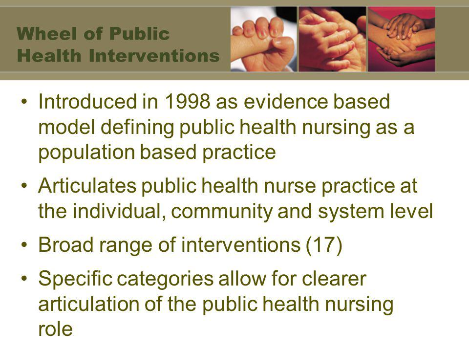 Wheel of Public Health Interventions Introduced in 1998 as evidence based model defining public health nursing as a population based practice Articulates public health nurse practice at the individual, community and system level Broad range of interventions (17) Specific categories allow for clearer articulation of the public health nursing role