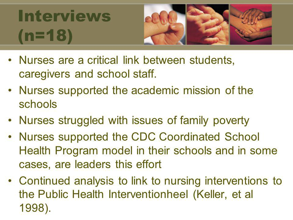 Interviews (n=18) Nurses are a critical link between students, caregivers and school staff.