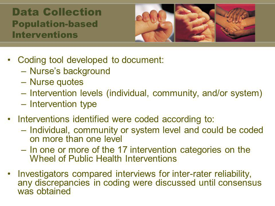Data Collection Population-based Interventions Coding tool developed to document: –Nurse's background –Nurse quotes –Intervention levels (individual, community, and/or system) –Intervention type Interventions identified were coded according to: –Individual, community or system level and could be coded on more than one level –In one or more of the 17 intervention categories on the Wheel of Public Health Interventions Investigators compared interviews for inter-rater reliability, any discrepancies in coding were discussed until consensus was obtained