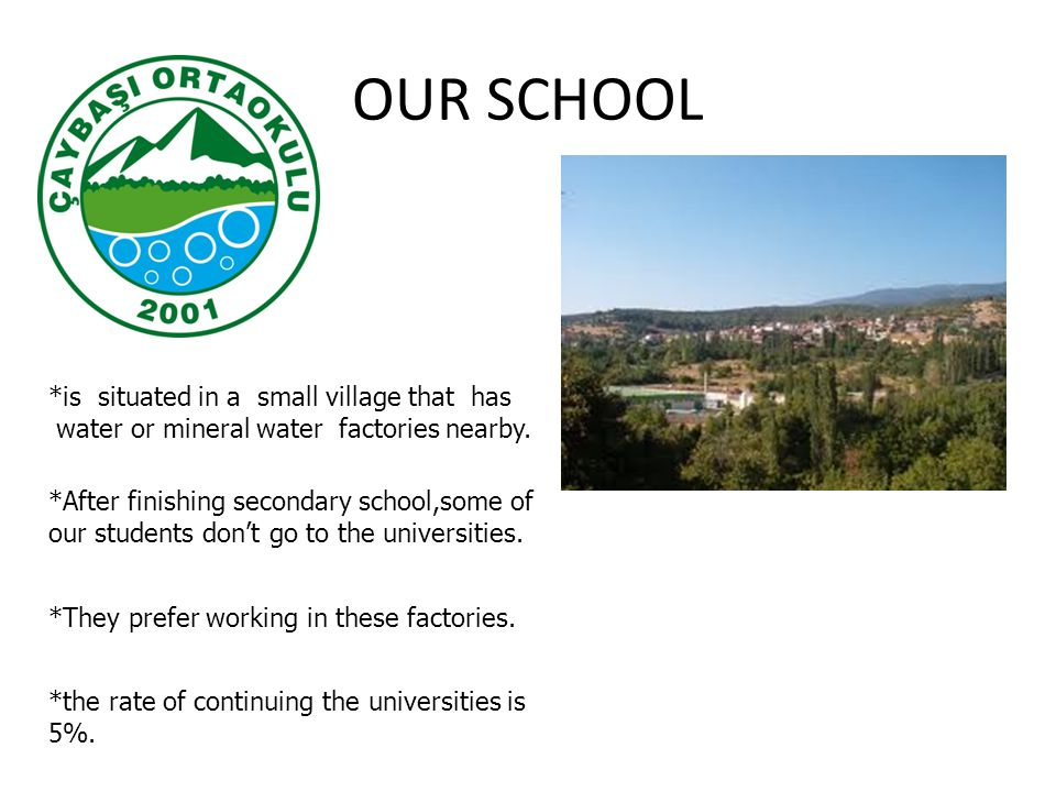 OUR SCHOOL *is situated in a small village that has water or mineral water factories nearby.