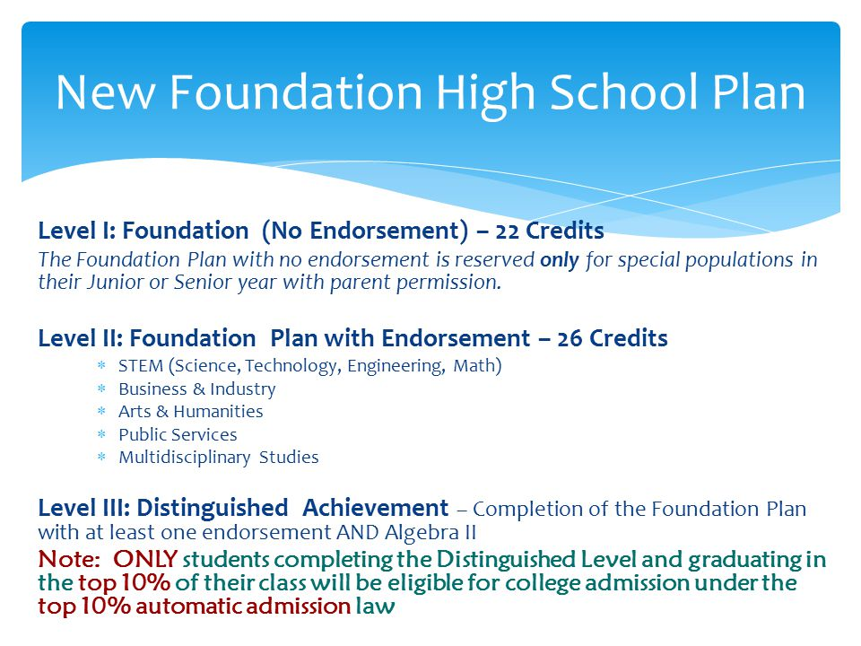 Level I: Foundation (No Endorsement) – 22 Credits The Foundation Plan with no endorsement is reserved only for special populations in their Junior or