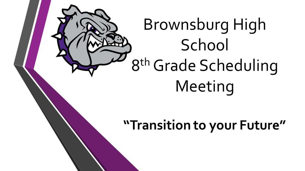 Brownsburg High School 8 th Grade Scheduling Meeting Transition to your Future