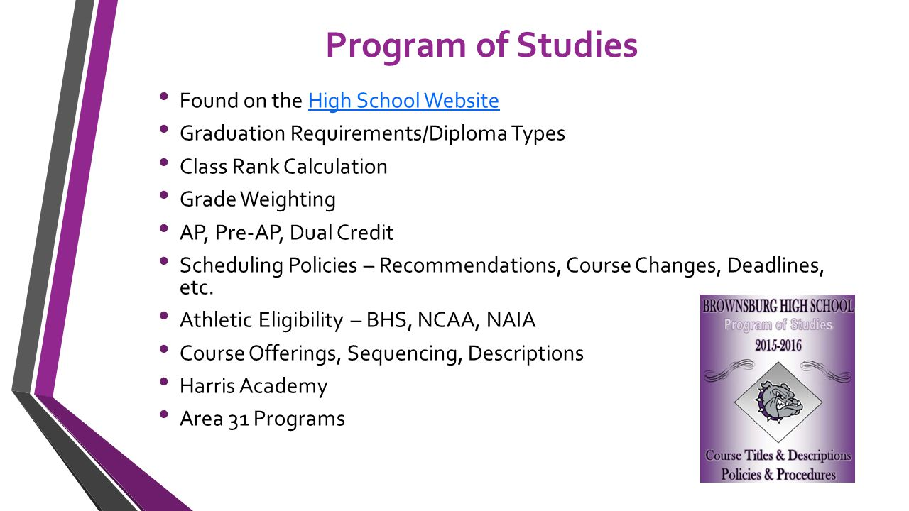 Program of Studies Found on the High School WebsiteHigh School Website Graduation Requirements/Diploma Types Class Rank Calculation Grade Weighting AP, Pre-AP, Dual Credit Scheduling Policies – Recommendations, Course Changes, Deadlines, etc.