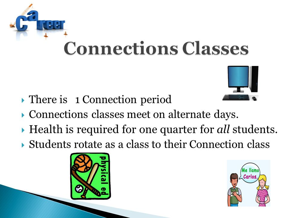  There is 1 Connection period  Connections classes meet on alternate days.  Health is required for one quarter for all students.  Students rotate