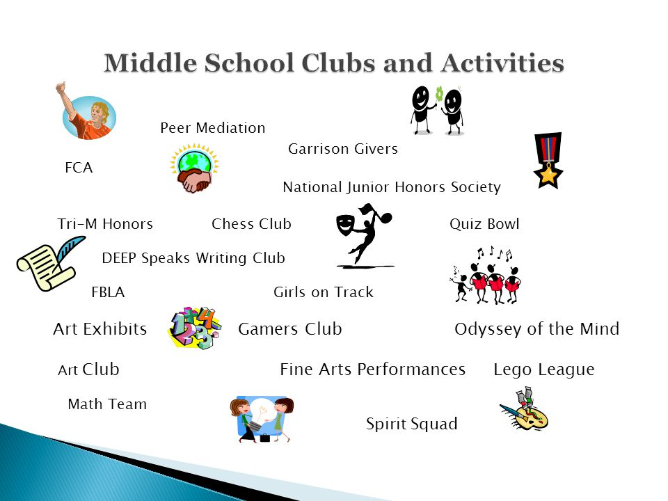 Peer Mediation Garrison Givers FCA National Junior Honors Society Tri-M Honors Chess Club Quiz Bowl DEEP Speaks Writing Club FBLA Girls on Track Art E