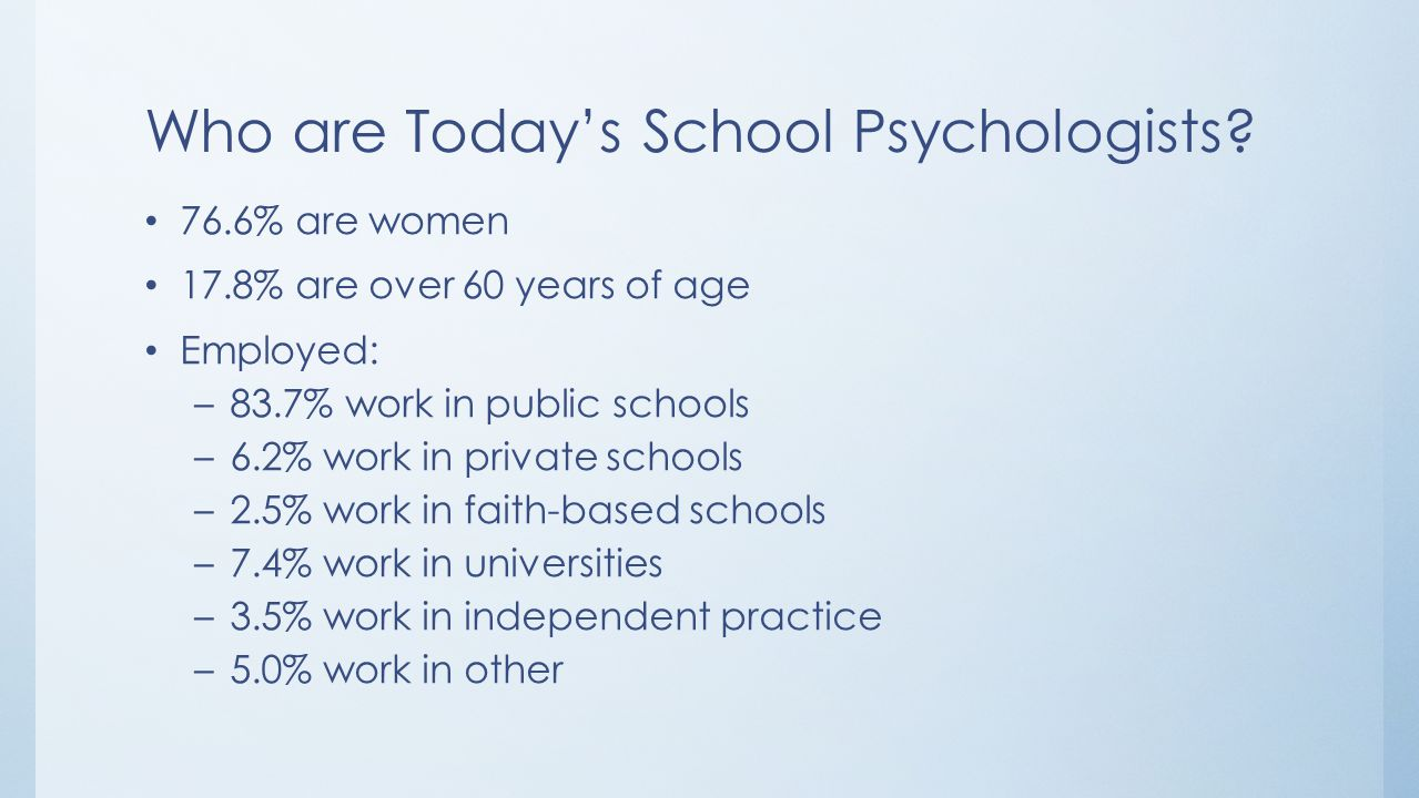 Who are Today's School Psychologists? 76.6% are women 17.8% are over 60 years of age Employed: –83.7% work in public schools –6.2% work in private sch