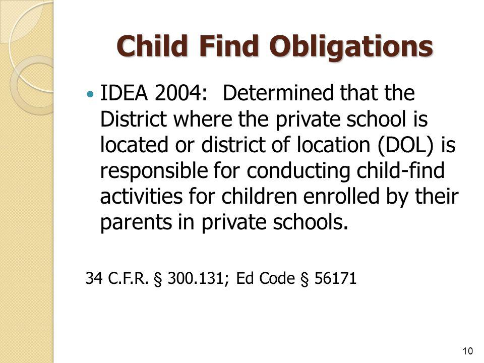 Child Find Obligations IDEA 2004: Determined that the District where the private school is located or district of location (DOL) is responsible for co