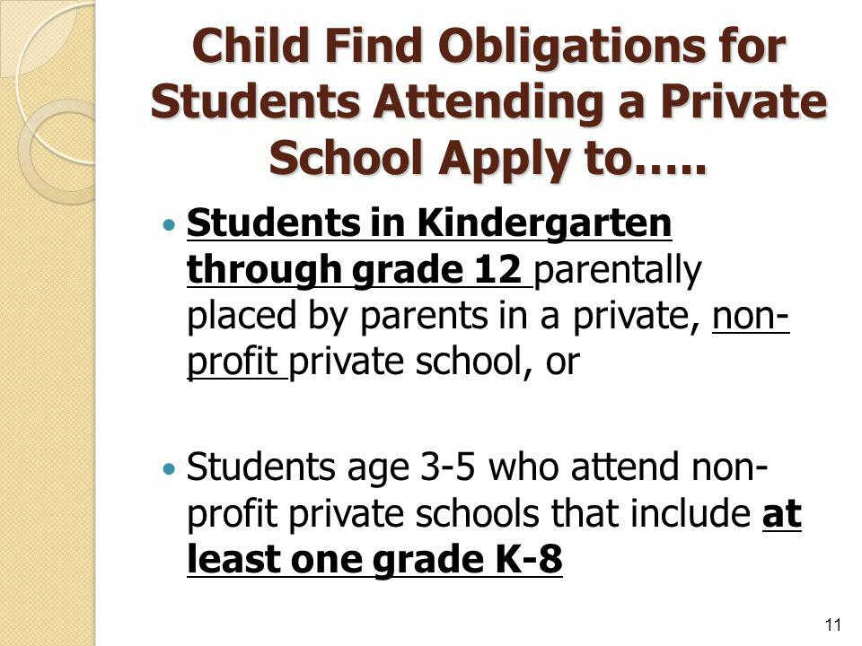 Child Find Obligations for Students Attending a Private School Apply to….. Students in Kindergarten through grade 12 parentally placed by parents in a