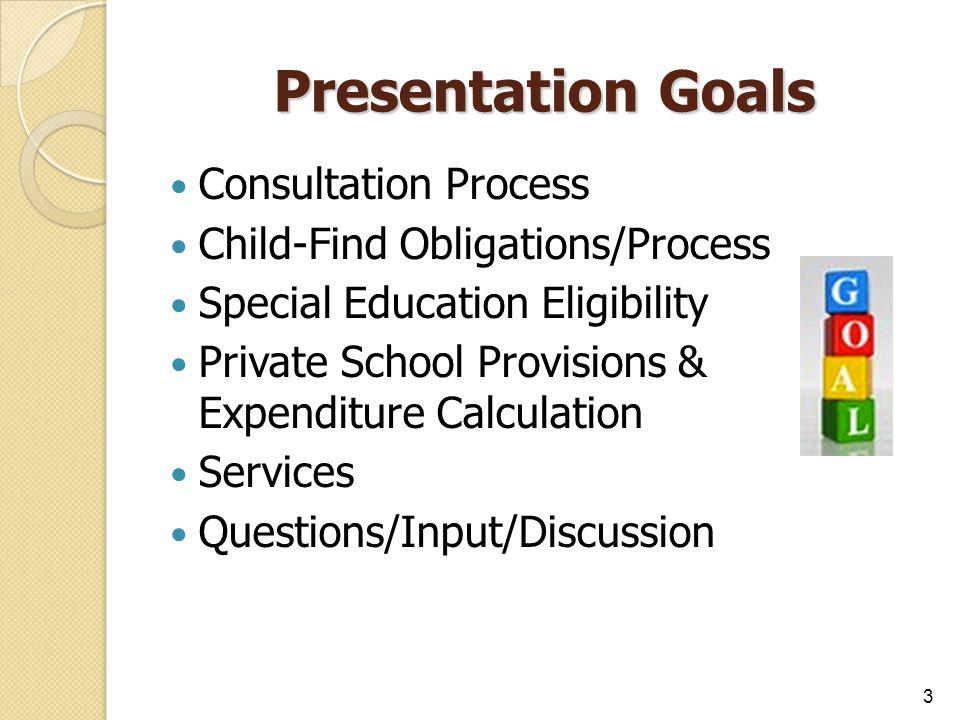 Presentation Goals Consultation Process Child-Find Obligations/Process Special Education Eligibility Private School Provisions & Expenditure Calculati