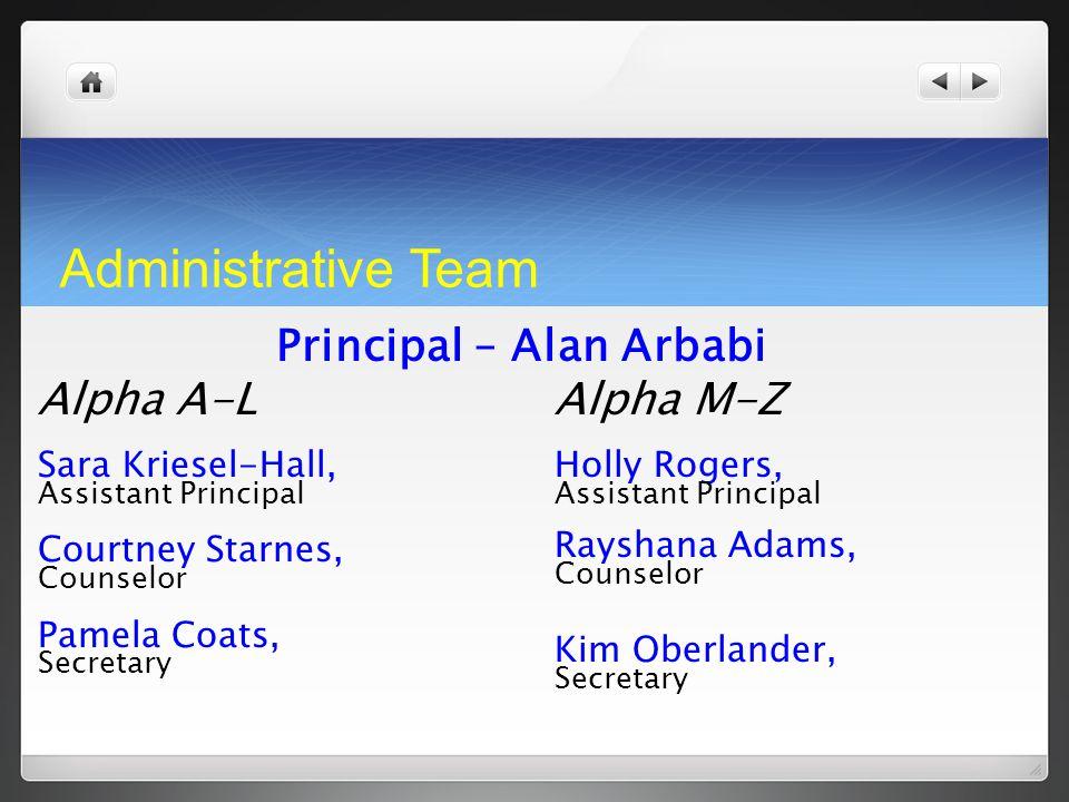 Administrative Team Principal – Alan Arbabi Alpha A-L Sara Kriesel-Hall, Assistant Principal Courtney Starnes, Counselor Pamela Coats, Secretary Alpha
