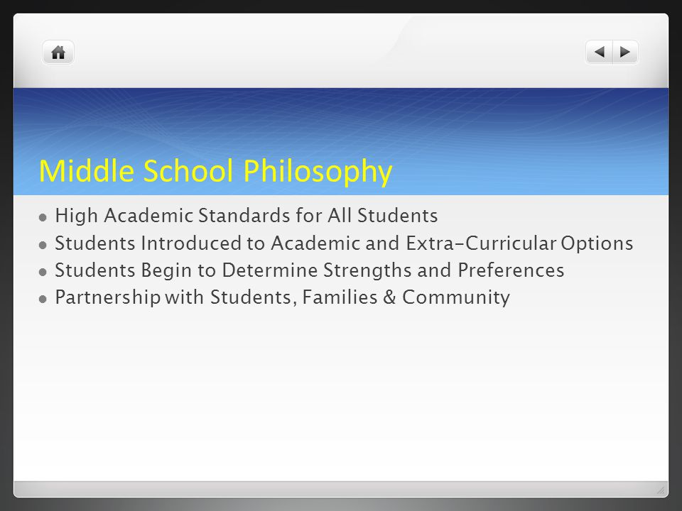 Middle School Philosophy High Academic Standards for All Students Students Introduced to Academic and Extra-Curricular Options Students Begin to Deter