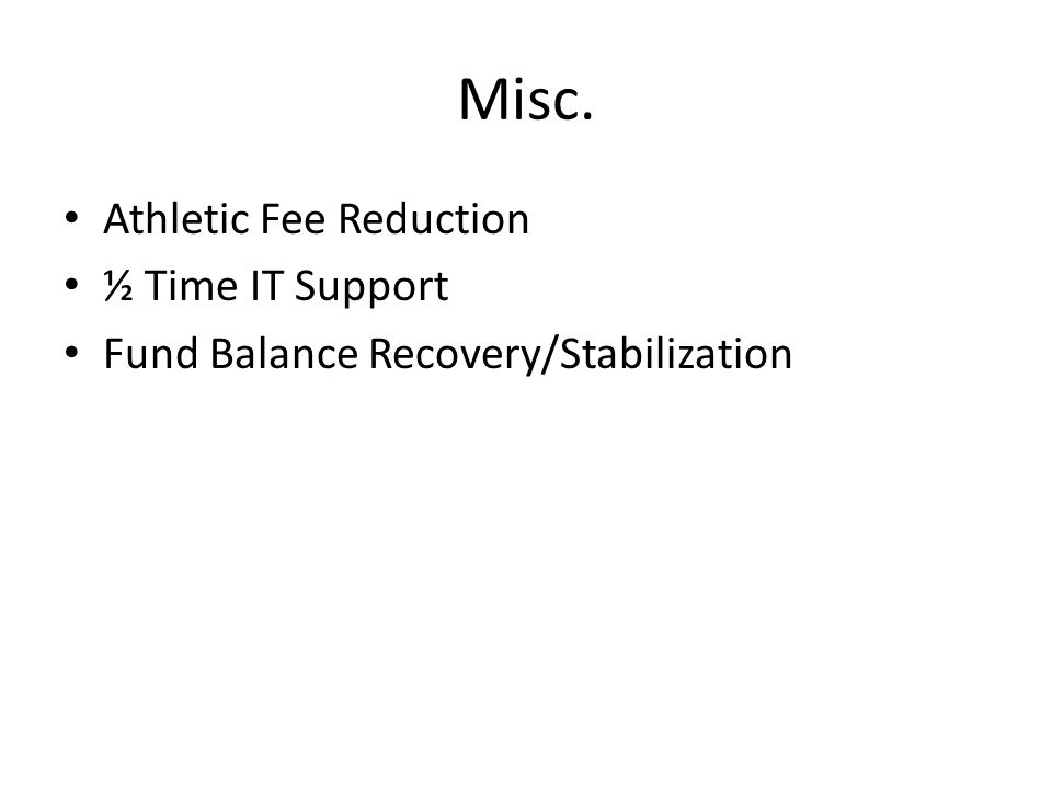 Misc. Athletic Fee Reduction ½ Time IT Support Fund Balance Recovery/Stabilization