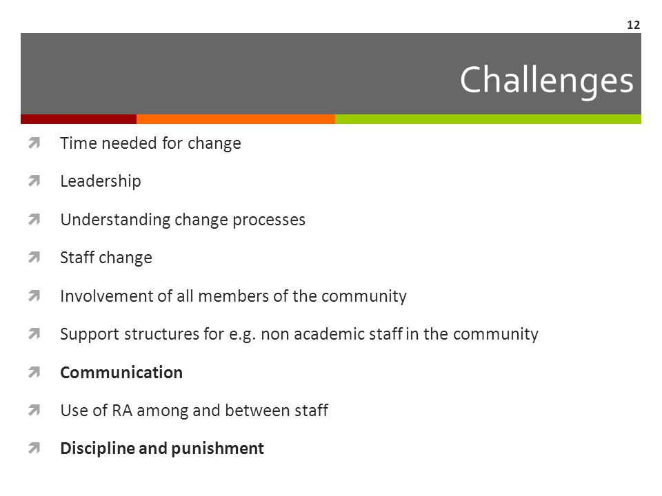 Challenges  Time needed for change  Leadership  Understanding change processes  Staff change  Involvement of all members of the community  Suppo