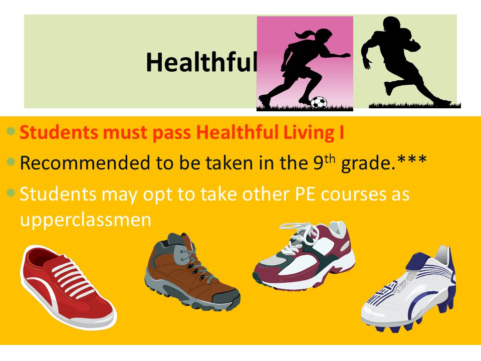 Healthful Living Students must pass Healthful Living I Recommended to be taken in the 9 th grade.*** Students may opt to take other PE courses as upperclassmen