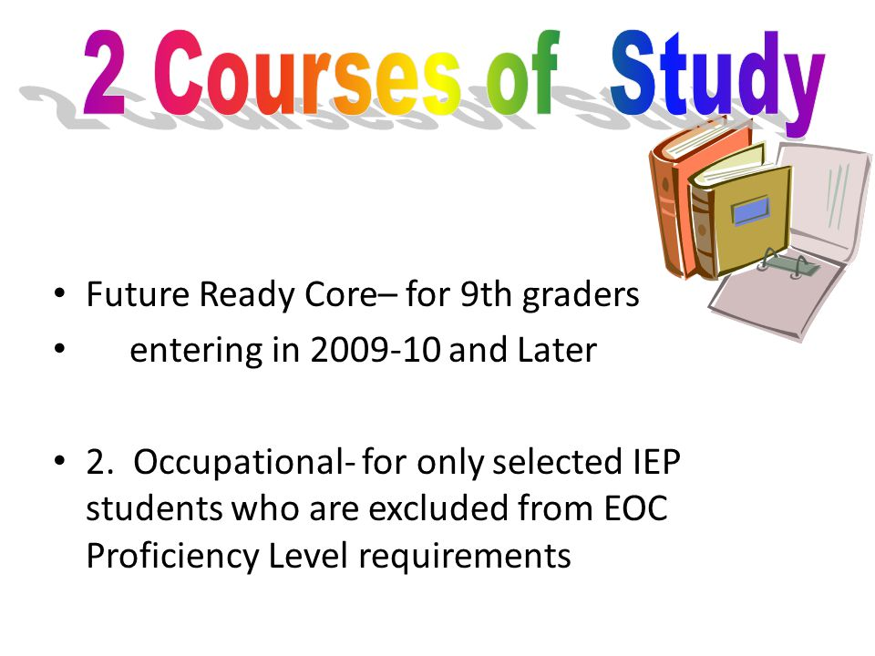 Future Ready Core– for 9th graders entering in 2009-10 and Later 2.