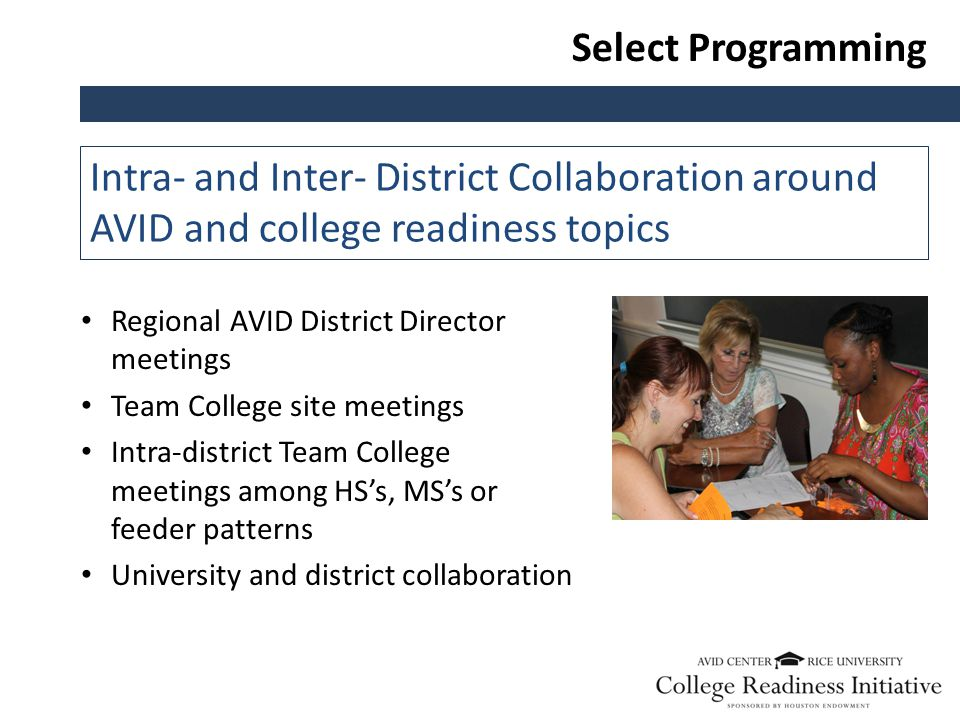 Select Programming Intra- and Inter- District Collaboration around AVID and college readiness topics Regional AVID District Director meetings Team College site meetings Intra-district Team College meetings among HS's, MS's or feeder patterns University and district collaboration