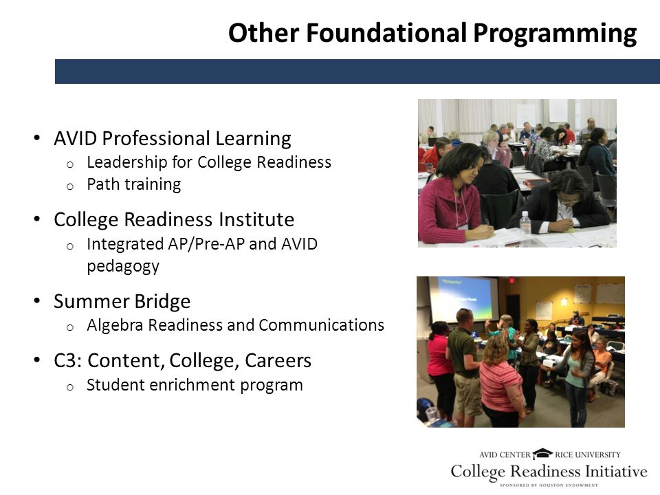 Other Foundational Programming AVID Professional Learning o Leadership for College Readiness o Path training College Readiness Institute o Integrated AP/Pre-AP and AVID pedagogy Summer Bridge o Algebra Readiness and Communications C3: Content, College, Careers o Student enrichment program