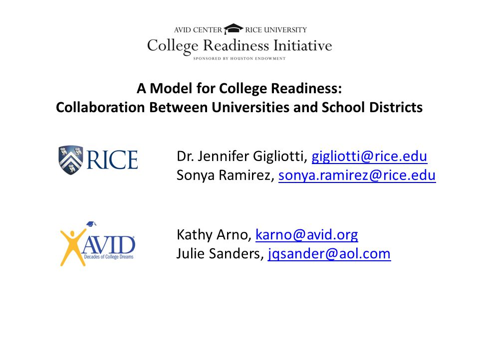 A Model for College Readiness: Collaboration Between Universities and School Districts Dr.