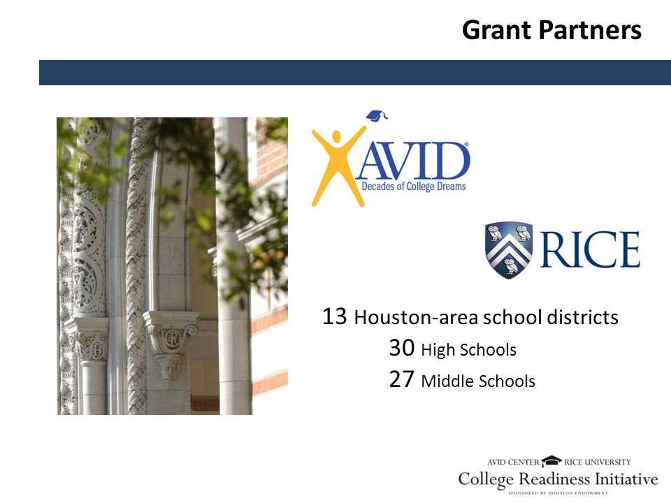 Grant Partners 13 Houston-area school districts 30 High Schools 27 Middle Schools