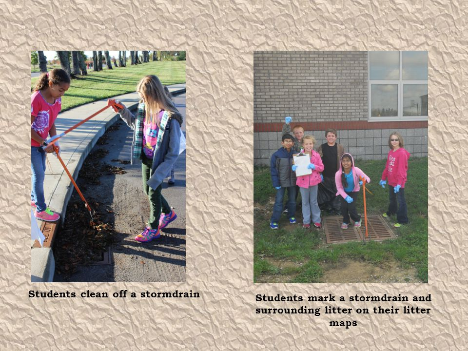 Students clean off a stormdrain Students mark a stormdrain and surrounding litter on their litter maps
