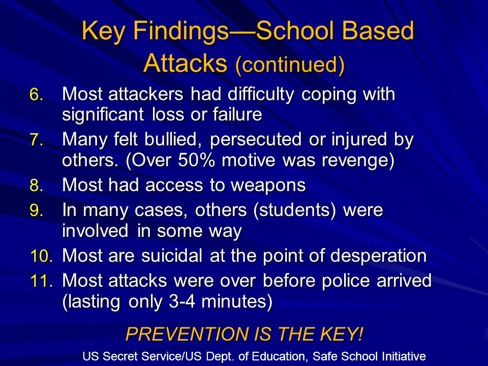 Key Findings—School Based Attacks (continued) Key Findings—School Based Attacks (continued) 6. Most attackers had difficulty coping with significant l