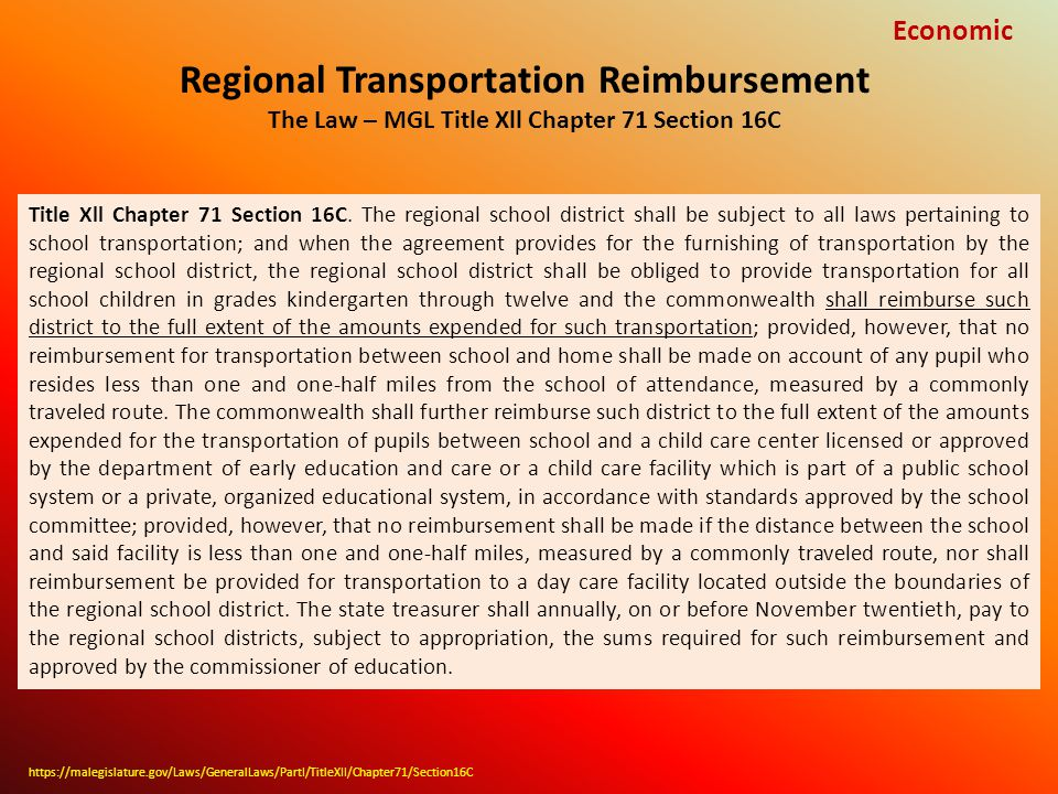 Regional Transportation Reimbursement The Law – MGL Title Xll Chapter 71 Section 16C Economic Title Xll Chapter 71 Section 16C.