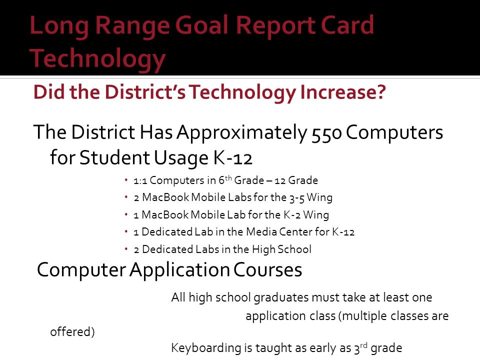 Did the District's Technology Increase? The District Has Approximately 550 Computers for Student Usage K-12  1:1 Computers in 6 th Grade – 12 Grade 