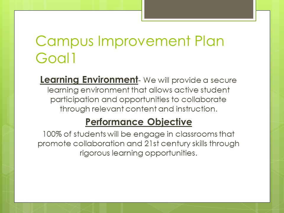 Campus Improvement Plan Goal1 Learning Environment - We will provide a secure learning environment that allows active student participation and opportunities to collaborate through relevant content and instruction.