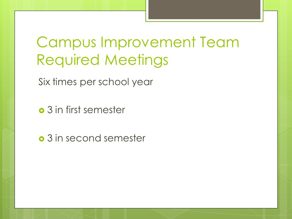 Campus Improvement Team Required Meetings Six times per school year  3 in first semester  3 in second semester
