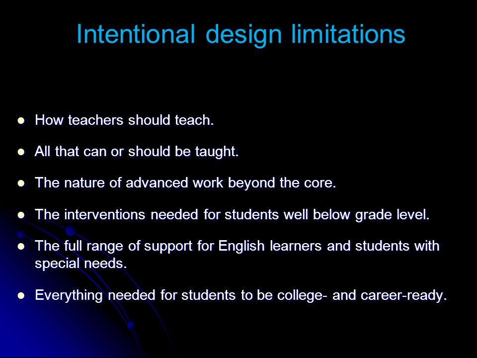 Intentional design limitations : How teachers should teach. How teachers should teach. All that can or should be taught. All that can or should be tau