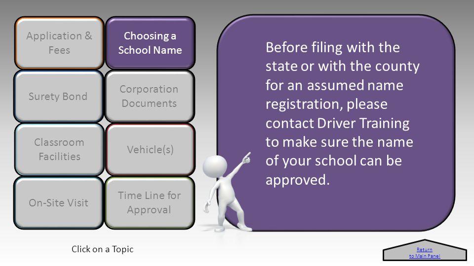 Application & Fees Choosing a School Name Surety Bond A driver education school owner must obtain a $10,000 surety bond.