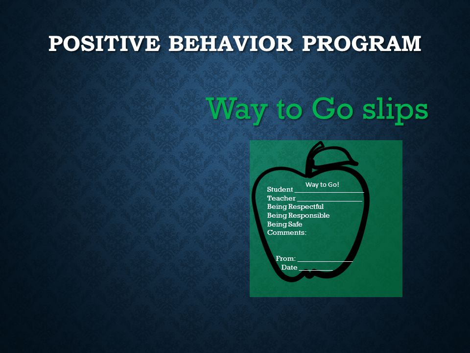 POSITIVE BEHAVIOR PROGRAM Way to Go slips Student ___________________ Teacher __________________ Being Respectful Being Responsible Being Safe Comment