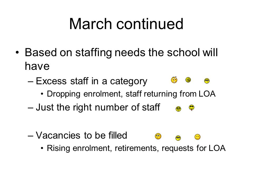 March continued Based on staffing needs the school will have –Excess staff in a category Dropping enrolment, staff returning from LOA –Just the right number of staff –Vacancies to be filled Rising enrolment, retirements, requests for LOA
