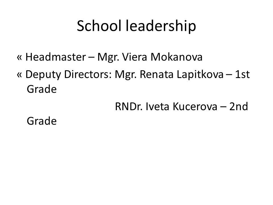 School leadership « Headmaster – Mgr. Viera Mokanova « Deputy Directors: Mgr. Renata Lapitkova – 1st Grade RNDr. Iveta Kucerova – 2nd Grade
