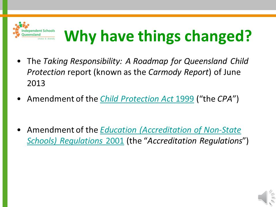 Independent Schools Queensland Child Protection – Recent Changes November 2014