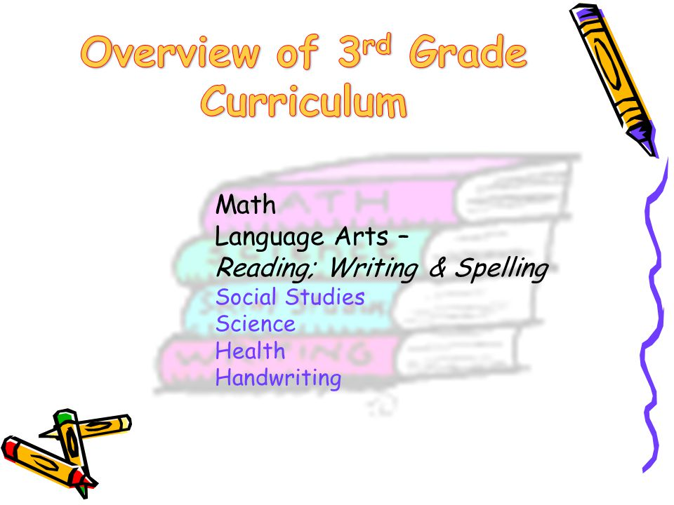 Math Language Arts – Reading; Writing & Spelling Social Studies Science Health Handwriting