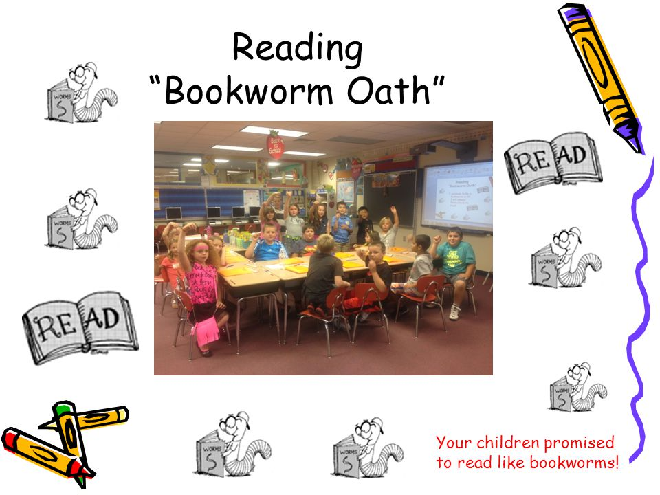 Reading Bookworm Oath Your children promised to read like bookworms!