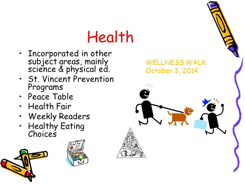 Health Incorporated in other subject areas, mainly science & physical ed.