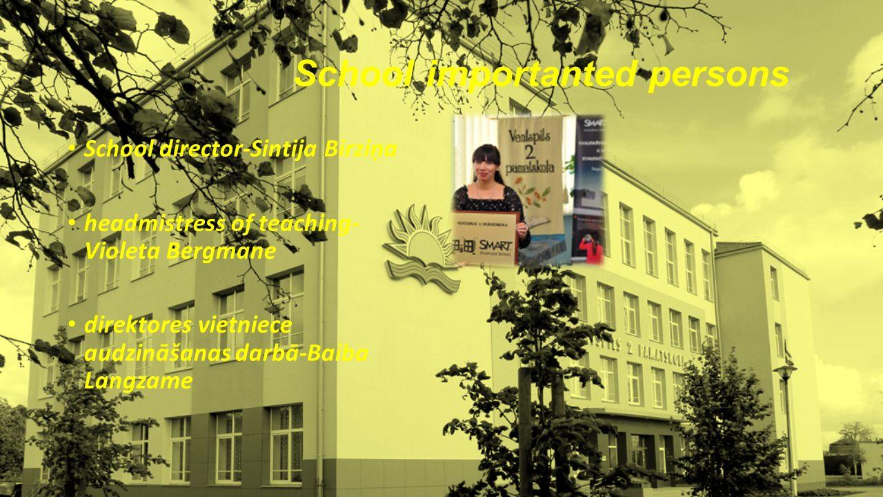 School importanted persons School director-Sintija Birziņa headmistress of teaching- Violeta Bergmane direktores vietniece audzināšanas darbā-Baiba Langzame