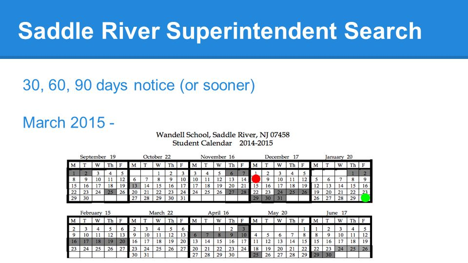Saddle River Superintendent Search 30, 60, 90 days notice (or sooner) March 2015 -