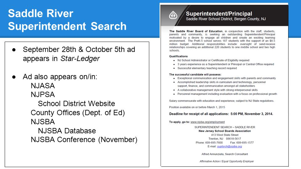 Saddle River Superintendent Search ●September 28th & October 5th ad appears in Star-Ledger ●Ad also appears on/in: NJASA NJPSA School District Website County Offices (Dept.
