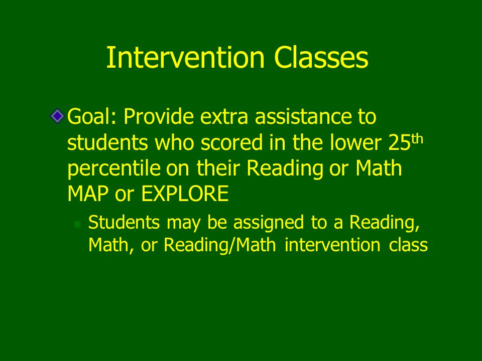 Intervention Classes Goal: Provide extra assistance to students who scored in the lower 25 th percentile on their Reading or Math MAP or EXPLORE Students may be assigned to a Reading, Math, or Reading/Math intervention class