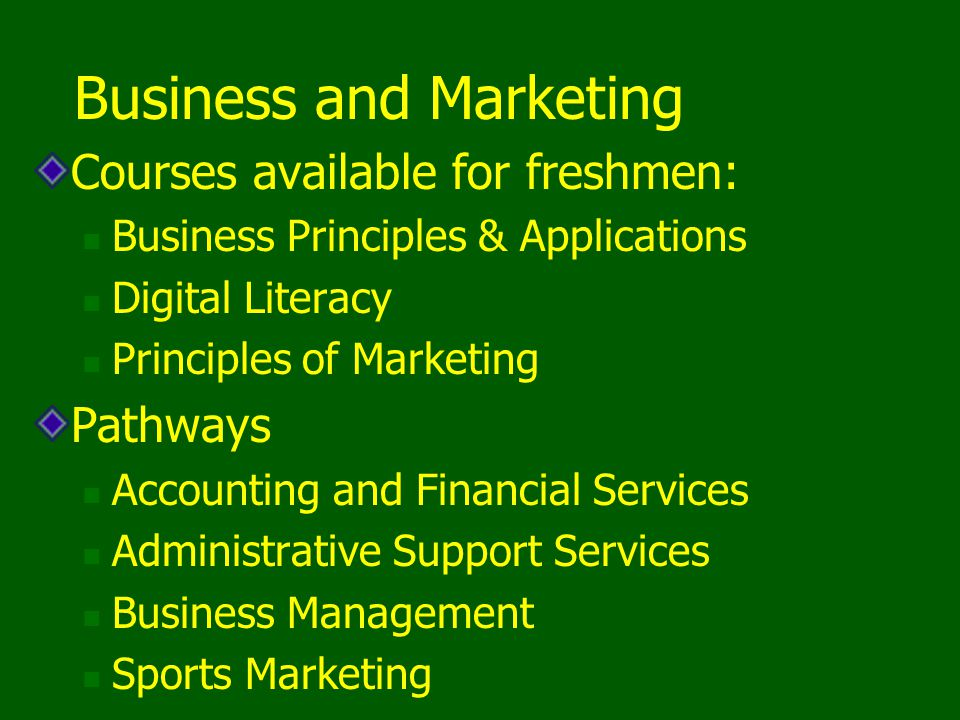 Business and Marketing Courses available for freshmen: Business Principles & Applications Digital Literacy Principles of Marketing Pathways Accounting and Financial Services Administrative Support Services Business Management Sports Marketing