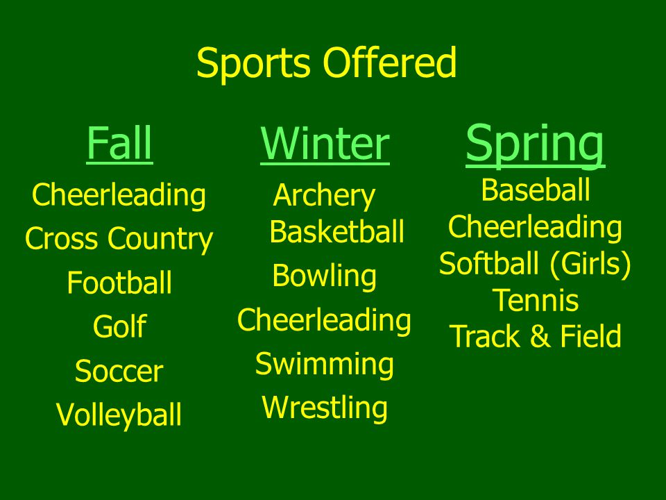 Sports Offered Fall Cheerleading Cross Country Football Golf Soccer Volleyball Winter Archery Basketball Bowling Cheerleading Swimming Wrestling Spring Baseball Cheerleading Softball (Girls) Tennis Track & Field