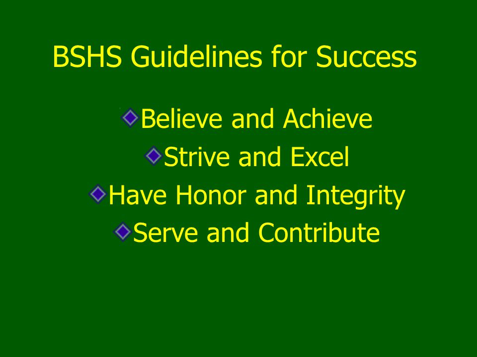 BSHS Guidelines for Success Believe and Achieve Strive and Excel Have Honor and Integrity Serve and Contribute